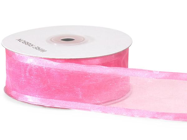 "Azalea Pink Satin Edge Sheer Wired Ribbon, 1-1/2""x25 yards"