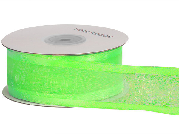 "Lime Wired Satin Edge Sheer 1-1/2""x25 yds 100% Nylon Ribbon"
