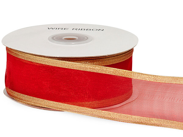 "*Red w/ Gold Brushed Metallic Edge 1-1/2""x25 yds 100% Nylon Ribbon"