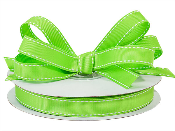 "Apple Green with White Saddle Stitch Ribbon, 5/8"" x 25 yards"