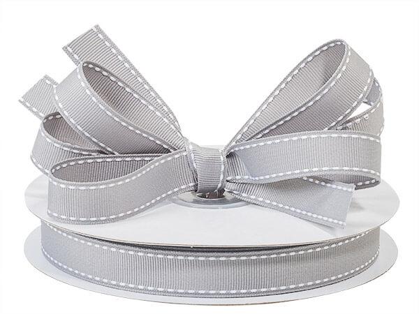 "Gray with White Saddle Stitch Ribbon, 5/8"" x 25 yards"