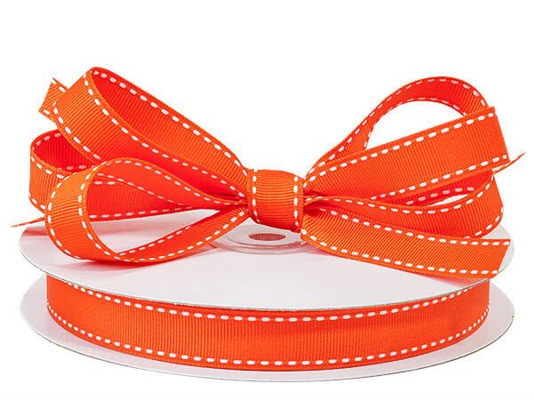"""Orange with White Saddle Stitch Ribbon, 5/8"""" x 25 yards"""
