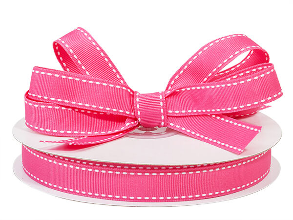 Pink with White Saddle Stitch Ribbon