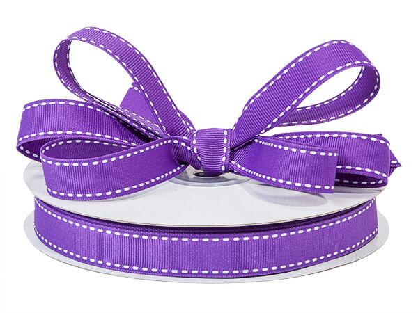 "Purple with White Saddle Stitch Ribbon, 5/8"" x 25 yards"