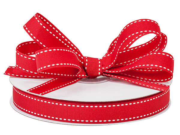 "Ruby Red With White Saddle Stitch Ribbon, 5/8"" x 25 yards"