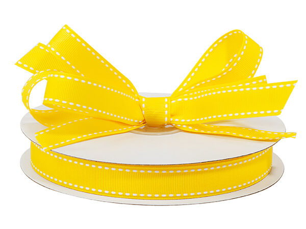 "Sunshine Yellow with White Saddle Stitch Ribbon, 5/8"" x 25 yards"