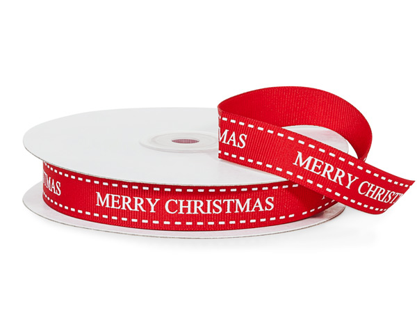 "Red Merry Christmas Ribbon, 5/8"" x 25 yards"