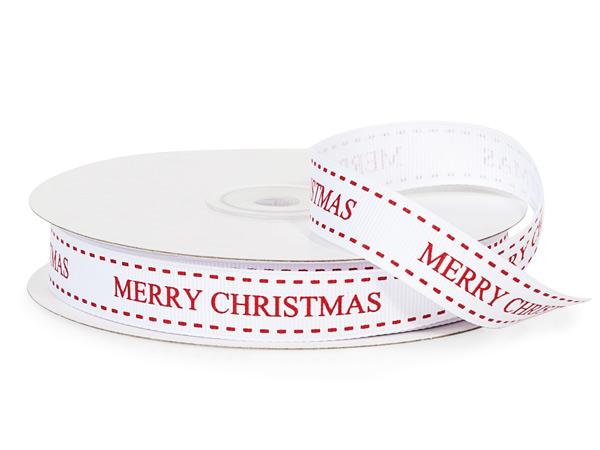 "White Merry Christmas Ribbon, 5/8"" x 25 yards"