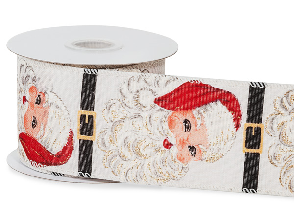 "Santa Claus Wired Ribbon, 2-1/2"" x 10 yards"