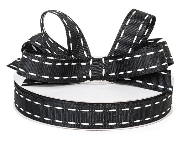 """Black with White Saddle Stitch Ribbon, 5/8"""" x 25 yards"""