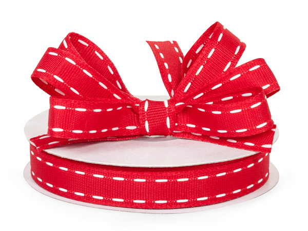 "Red with White Saddle Stitch Ribbon, 5/8"" x 25 yards"