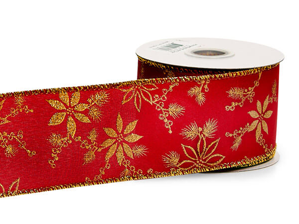 Poinsettia Red & Gold Holiday Ribbon