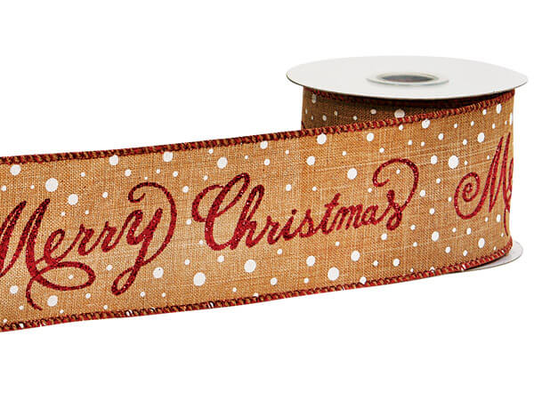 """Merry Christmas Red Glittered Wired Ribbon, 2-1/2"""" x 10 yards"""