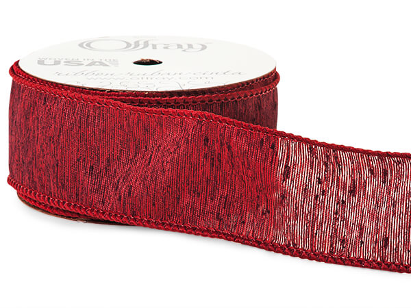 "*Rustic Burgundy Linen Blend Wired Ribbon, 1-1/2""x10 yards"