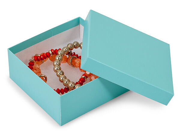 "Aqua Blue Jewelry Gift Boxes, 3.5x3.5x1.5"", 100 Pack, Cotton Fill"