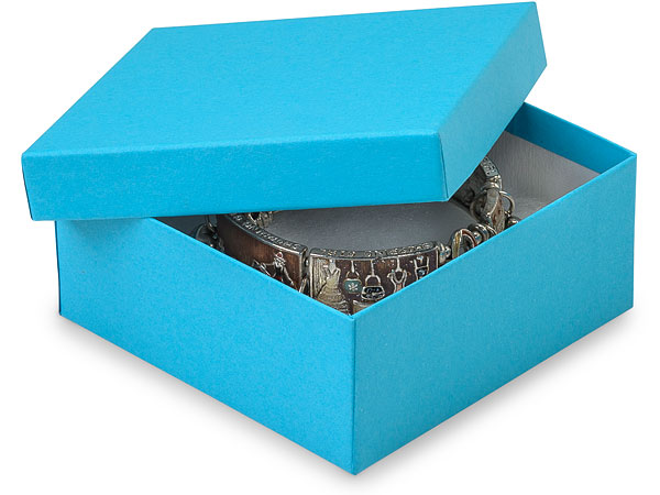"""Blue Jazz Jewelry Gift Boxes, 3.5x3.5x1.5"""", 100 Pack, Cotton Fill"""