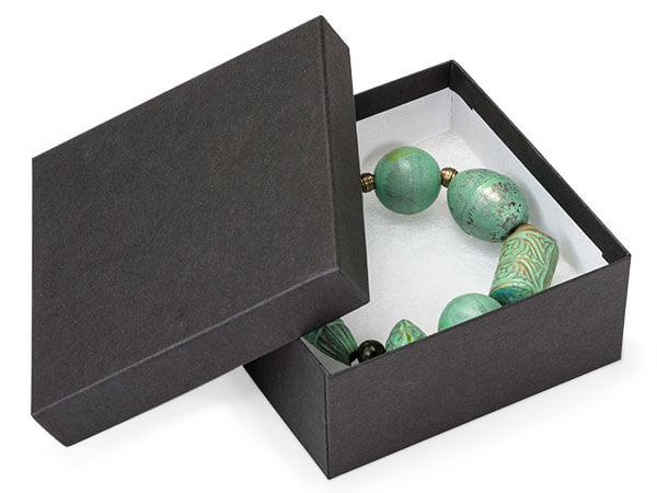 "Black Matte Jewelry Gift Boxes, 3.5x3.5x1.5"", 10 Pack, Fiber Fill"