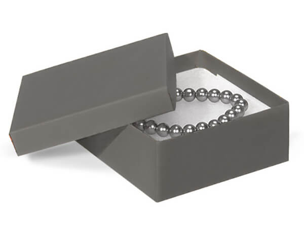 "Charcoal Gray Jewelry Gift Boxes, 3.5x3.5x1.5"", 100 Pack, Cotton Fill"