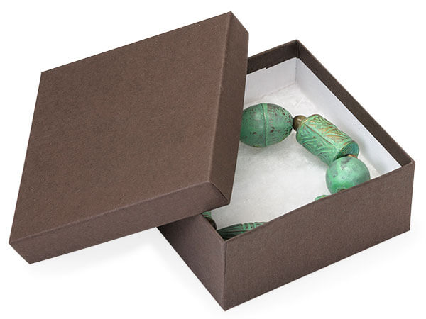 "Chocolate Embossed Jewelry Boxes, 3.5x3.5x1.5"", 10 Pack, Cotton Fill"