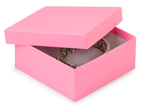 "Calypso Pink Jewelry Gift Boxes, 3.5x3.5x1.5"", 100 Pack, Cotton Fill"