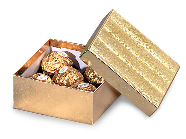 "Gold Embossed Foil Jewelry Boxes, 3.5x3.5x1.5"", 100 Pack, Fiber Fill"