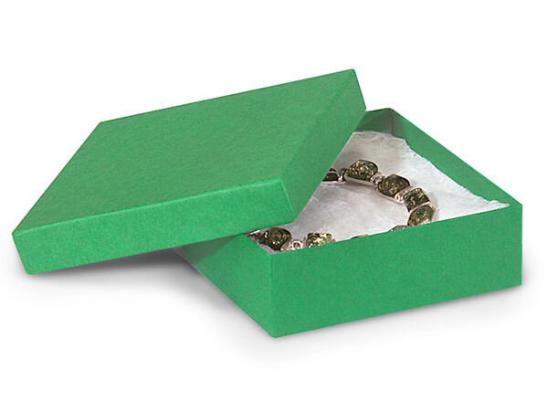 "Green Kraft Jewelry Gift Boxes, 3.5x3.5x1.5"", 100 Pack, Fiber Fill"