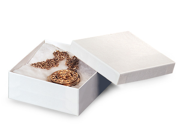 "White Gloss Jewelry Gift Boxes, 3.5x3.5x1.5"", 100 Pack, Fiber Fill"