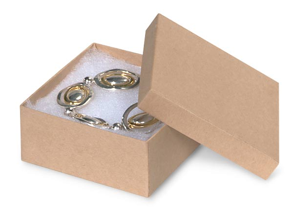 """Brown Kraft Jewelry Gift Boxes, 3.5x3.5x1.5"""", 100 Pack, Cotton Fill"""
