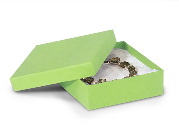 "Light Green Jewelry Gift Boxes, 3.5x3.5x1.5"", 100 Pack, Cotton Fill"
