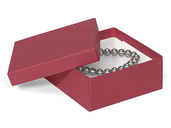 """Merlot Jewelry Gift Boxes, 3.5x3.5x1.5"""", 100 Pack, Cotton Fill"""