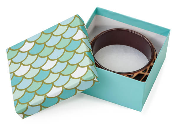 "Mermaids Paradise Jewelry Gift Box, 3.5x3.5x1.5"", 100 Pack, Cotton Fil"