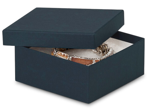 "3-1/2x3-1/2x1-1/2"" Navy Blue Jewelry Boxes with Fiber Fill"