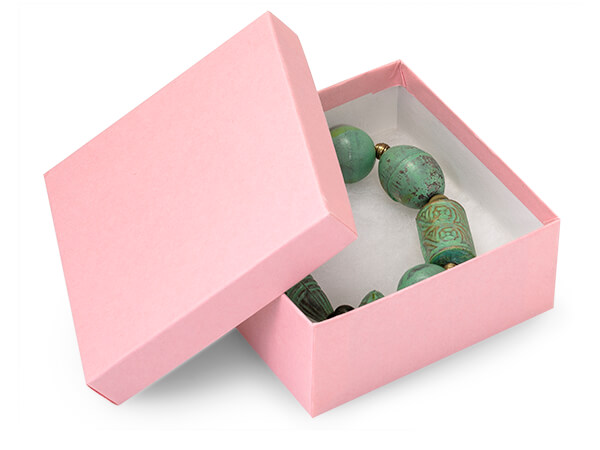 "Pink Kraft Jewelry Gift Boxes, 3.5x3.5x1.5"", 100 Pack, Cotton Fill"