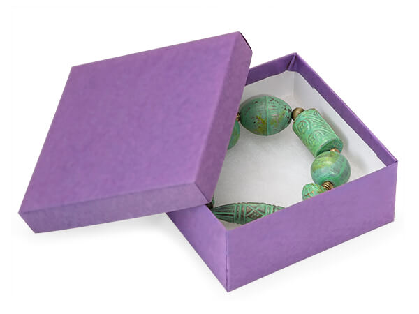 "Purple Kraft Jewelry Gift Boxes, 3.5x3.5x1.5"", 100 Pack, Cotton Fill"