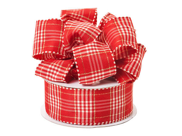 """Red and White Plaid Ribbon, 1-1/2""""x25 yards"""
