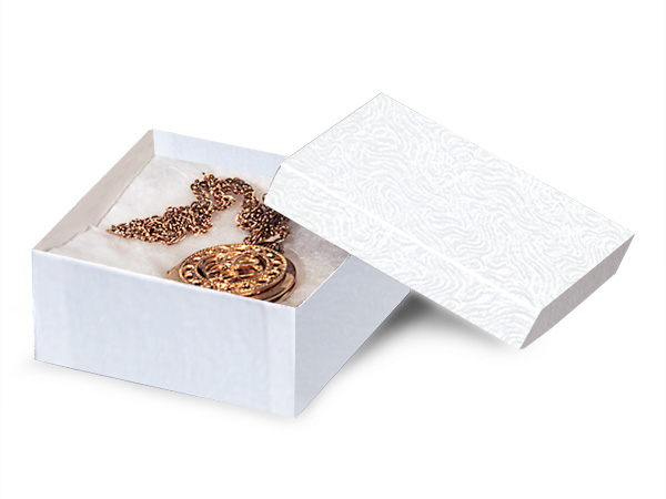 "White Embossed Swirl Jewelry Boxes, 3.5x3.5x1.5"", 100 Pack, Cotton Fil"