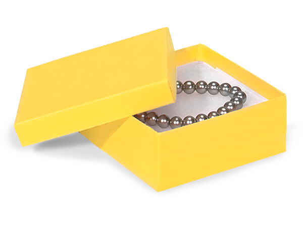 "Yellow Jewelry Gift Boxes, 3.5x3.5x1.5"", 100 Pack, Cotton Fill"