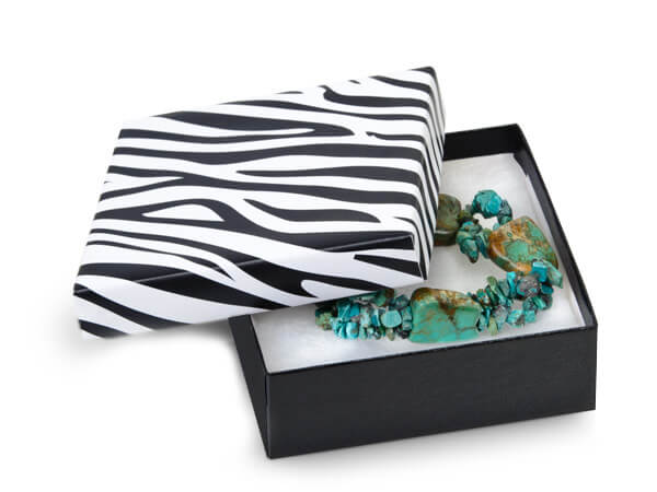 "Zebra Jewelry Gift Boxes, 3.5x3.5x1.5"", 100 Pack, Cotton Fill"