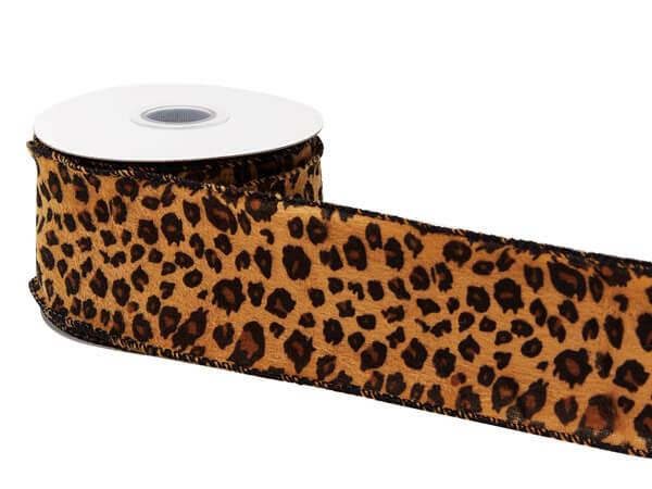 "Cheetah Print Wired Ribbon, 2-1/2"" x 10 yards"