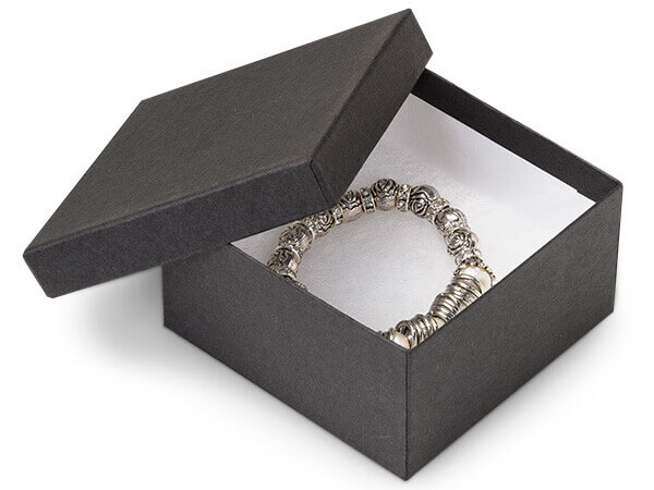 "Black Matte Jewelry Gift Boxes, 3.5x3.5x2"", 8 Pack, Fiber Fill"
