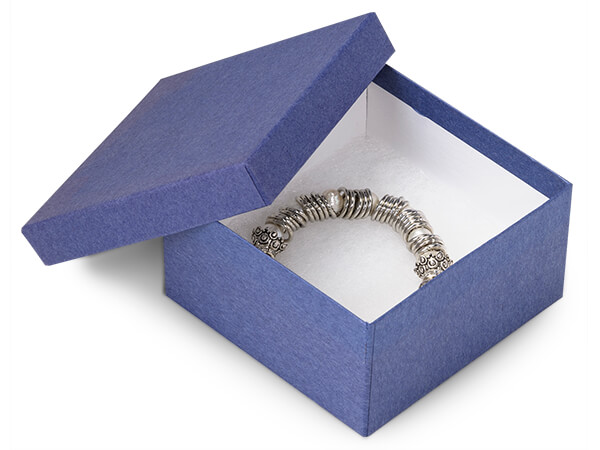"Blue Kraft Jewelry Gift Boxes, 3.5x3.5x2"", 100 Pack, Cotton Fill"