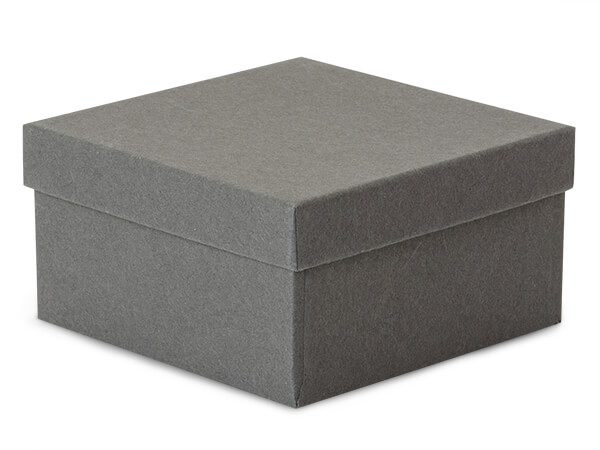 """Charcoal Gray Jewelry Gift Boxes, 3.5x3.5x2"""", 100 Pack, Cotton Fill"""