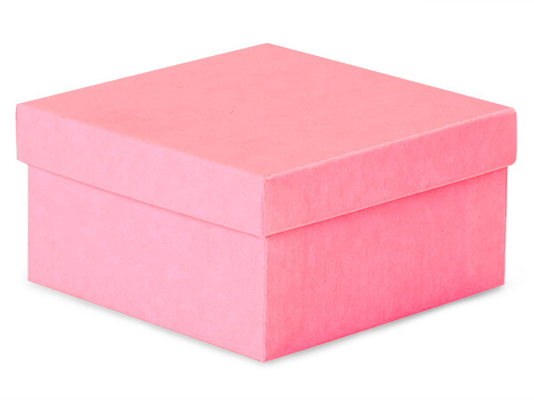 "Calypso Pink Jewelry Gift Boxes, 3.5x3.5x2"", 100 Pack, Cotton Fill"