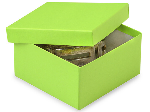 "Citrus Green Serenade Jewelry Box, 3.5x3.5x2"", 100 Pack, Cotton Fill"
