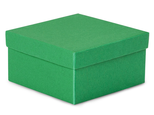 "Green Kraft Jewelry Gift Boxes, 3.5x3.5x2"", 100 Pack, Cotton Fill"