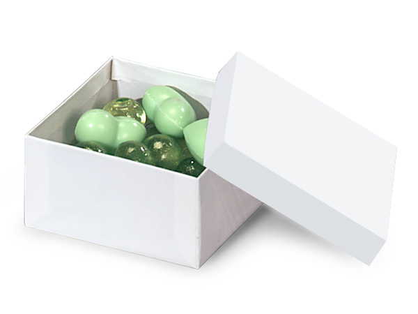"White Gloss Jewelry Gift Boxes, 3.5x3.5x2"", 100 Pack, Cotton Fill"