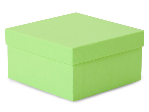 "3-1/2x3-1/2x1-7/8"" Light Green Jewelry Box with Cotton"