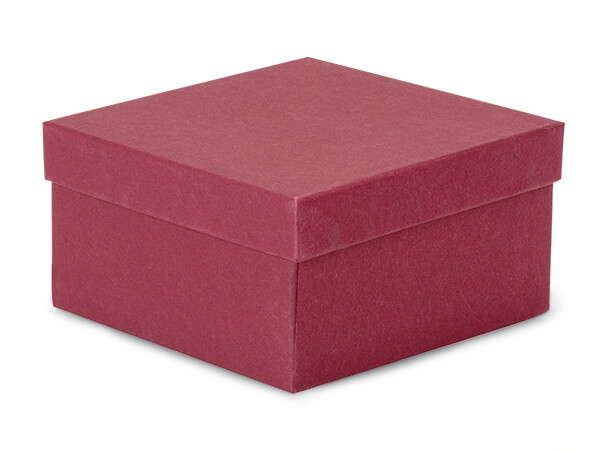 "Merlot Jewelry Gift Boxes, 3.5x3.5x2"", 100 Pack, Cotton Fill"