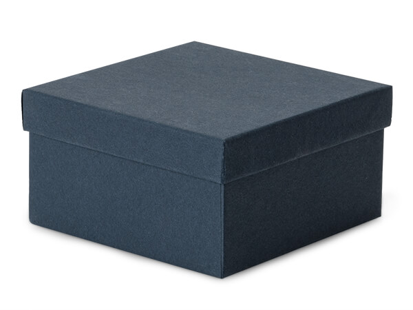 "Navy Blue Jewelry Gift Boxes, 3.5x3.5x2"", 100 Pack, Fiber Fill"