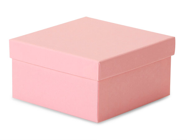"Pink Kraft Jewelry Gift Boxes, 3.5x3.5x2"", 100 Pack, Cotton Fill"
